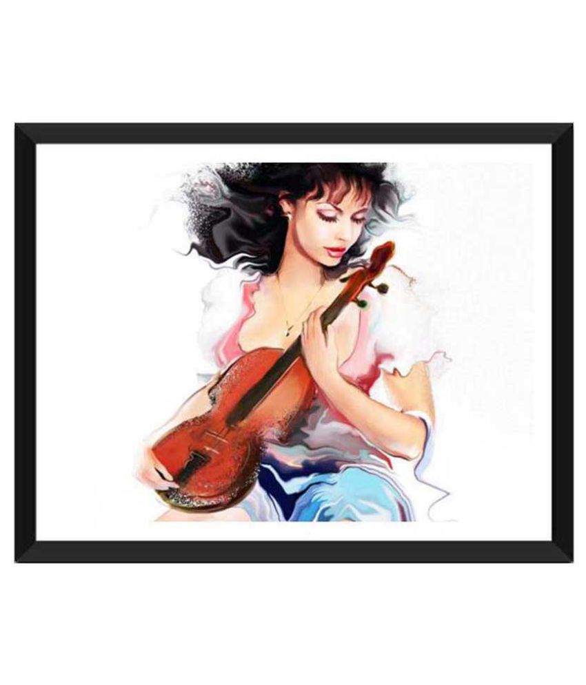 Tallenge Girl With The Violin #2 Paper Art Prints With Frame Single Piece