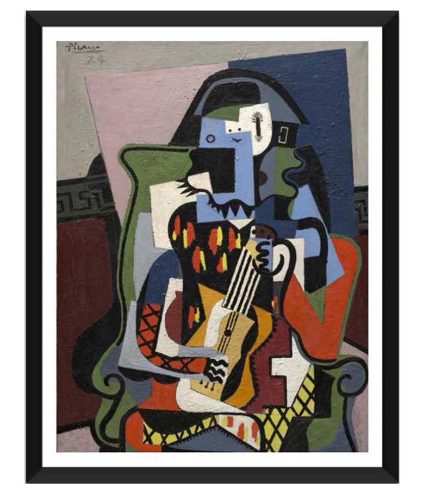 Tallenge Harlequin Musician Paper Art Prints With Frame Single Piece