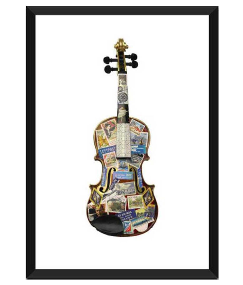 Tallenge Painting Of A Violin Thats Been Places Paper Art Prints With Frame Single Piece