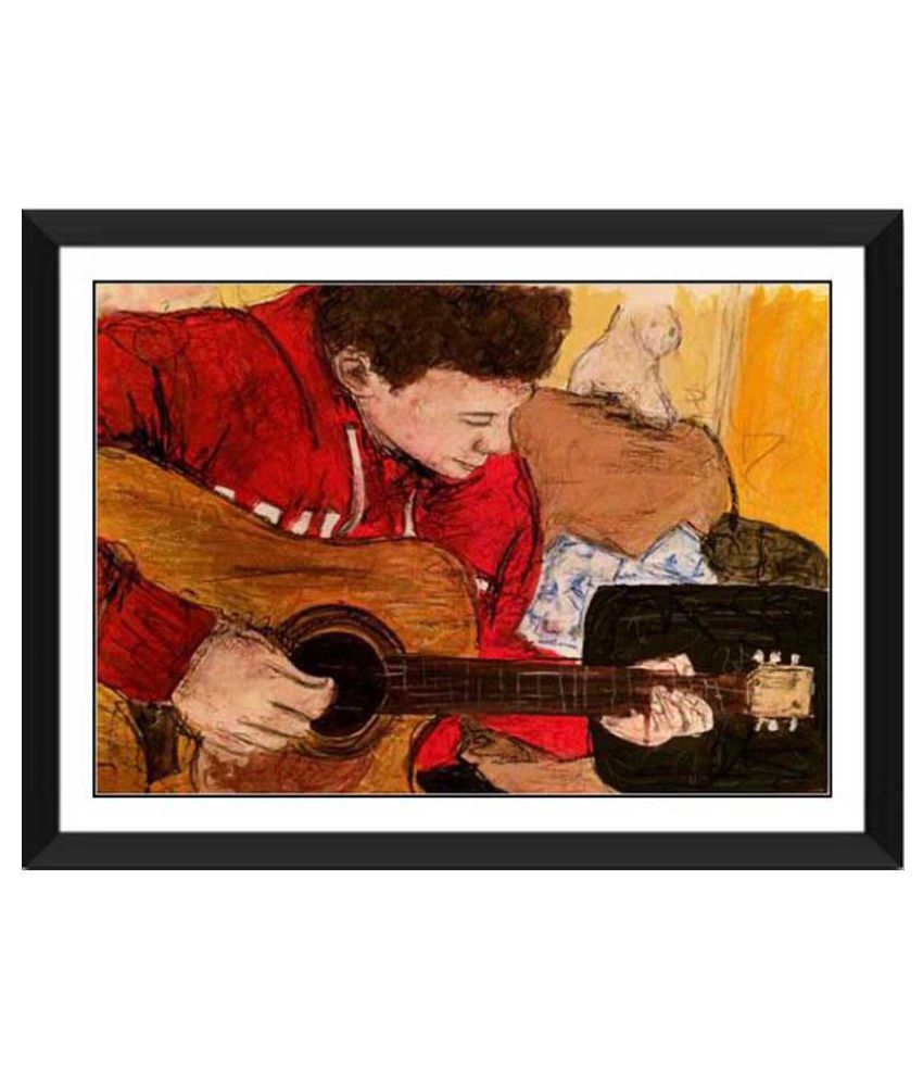Tallenge The Young Guitar Player Paper Art Prints With Frame Single Piece
