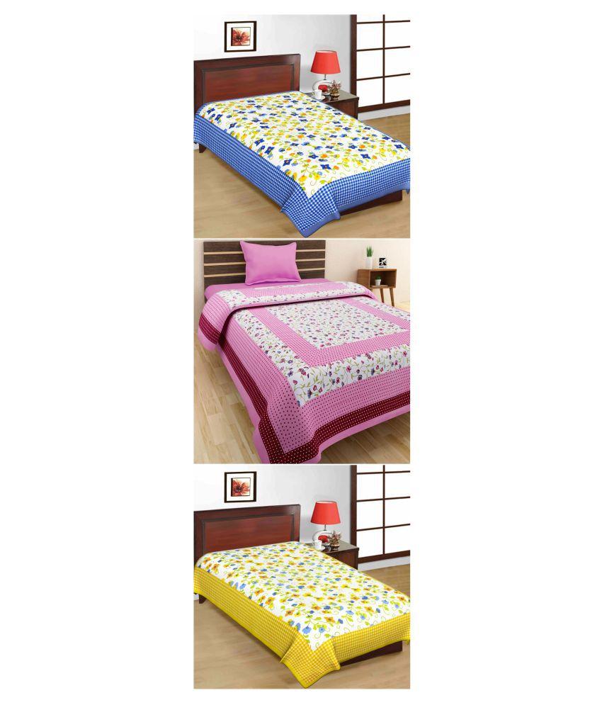 Kismat Collection Single Cotton Floral Bed Sheet