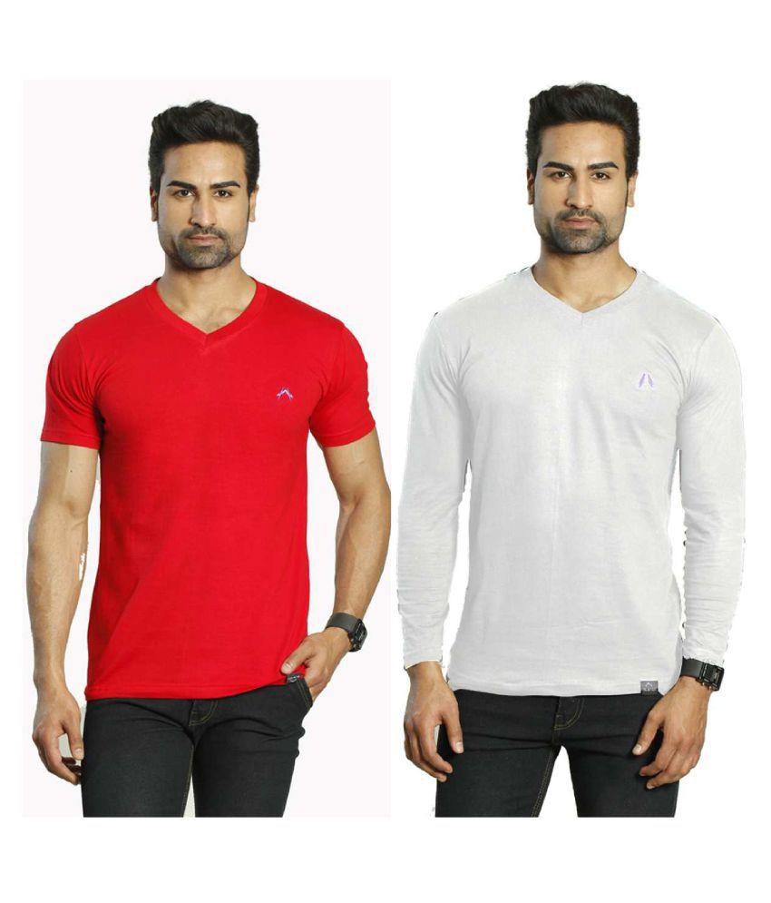Albiten Multi V-Neck T-Shirt Pack of 2
