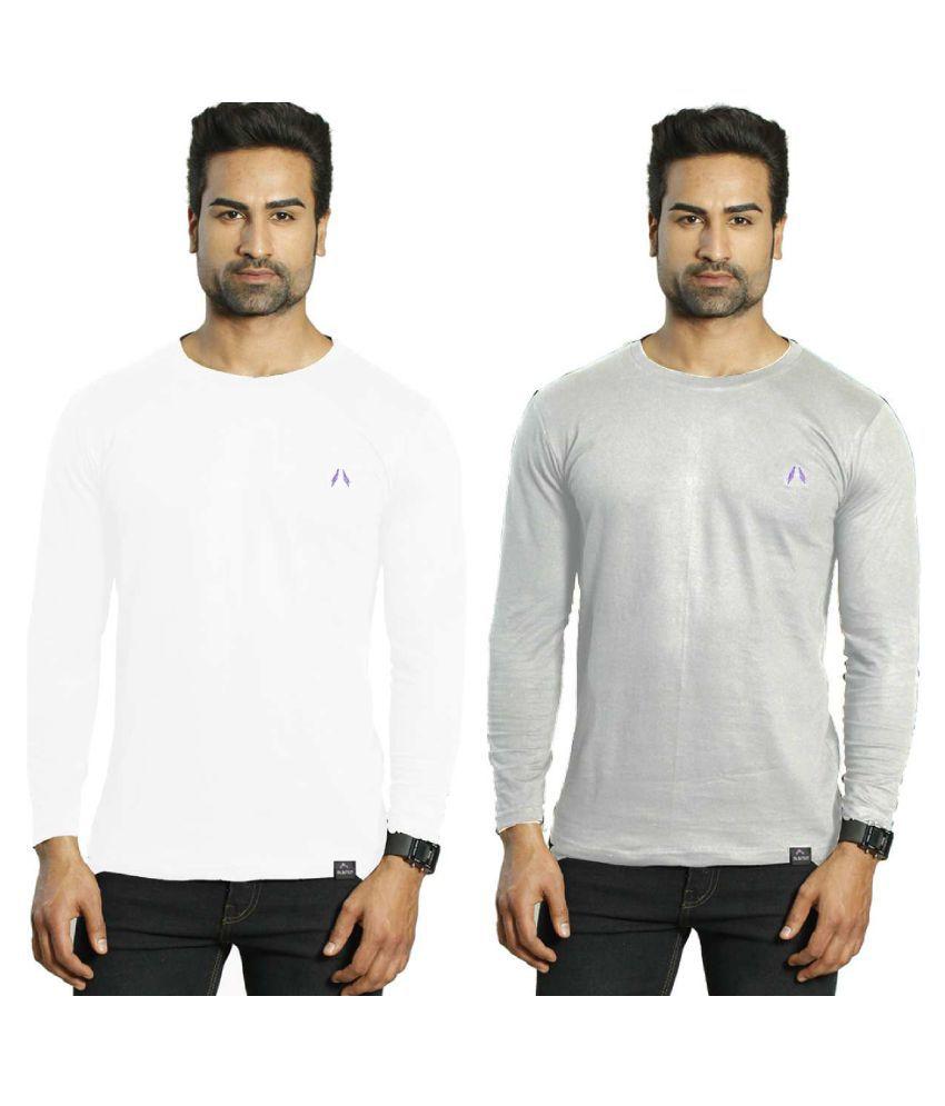 Albiten White Round T-Shirt Pack of 2