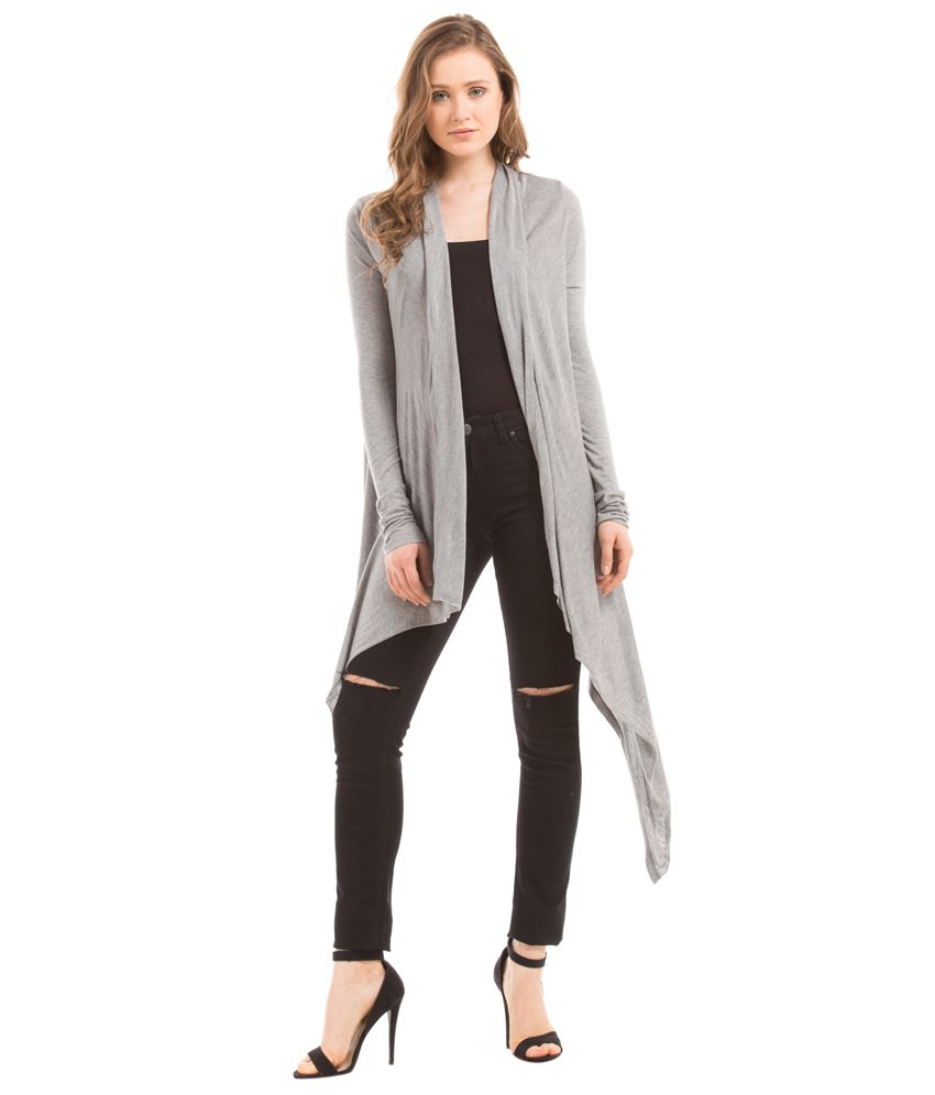 b2208fa0f1823d Buy Shuffle Gray Solid Long Shrug Online at Best Prices in India - Snapdeal