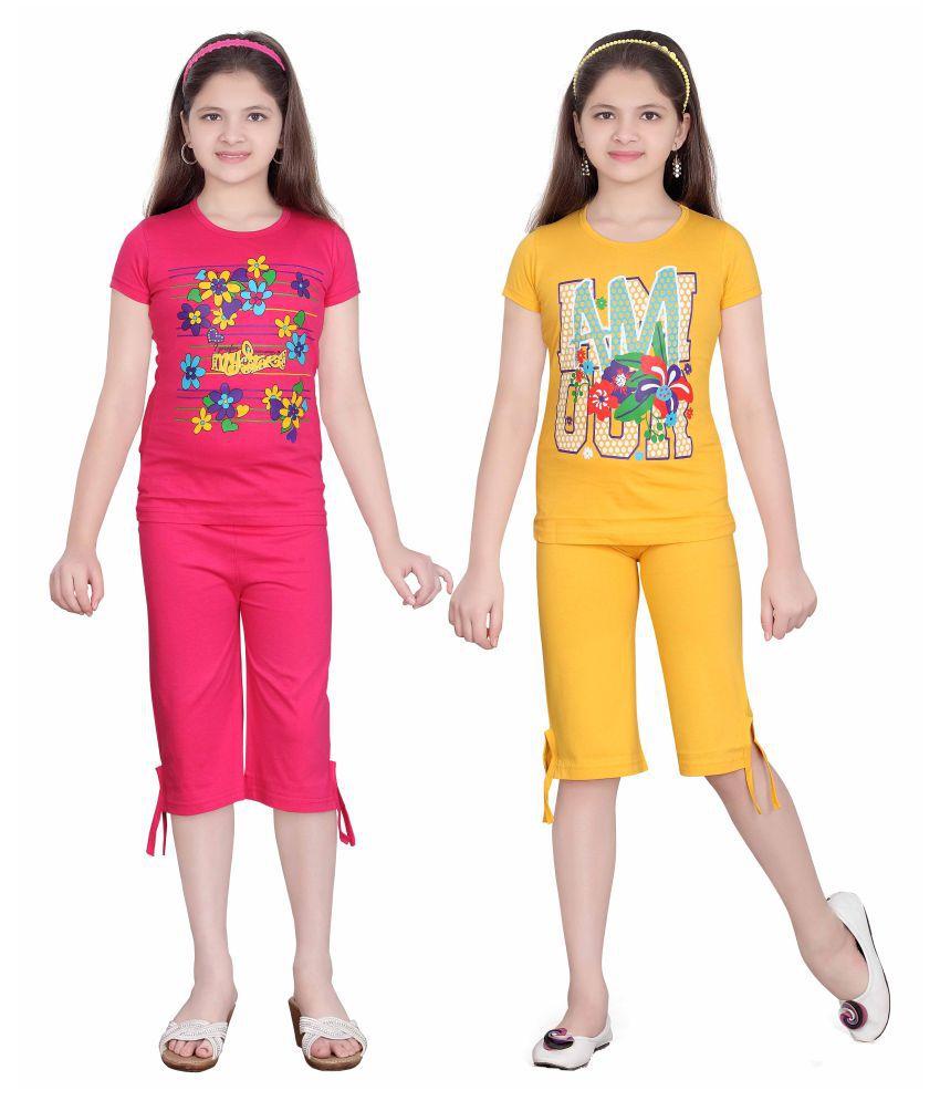 Sini Mini Multicolor Girl's Top & Capri Set - (Pack of 2)