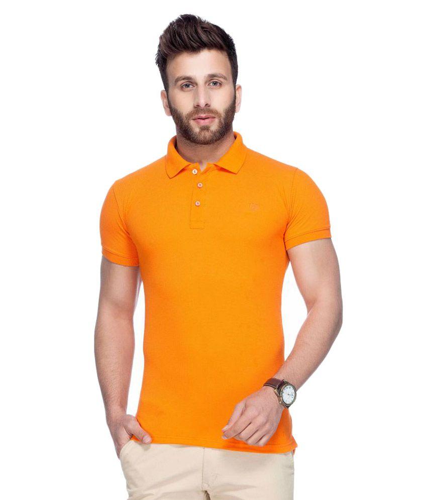 Tinted Orange Cotton Blend Polo T-Shirt Single Pack