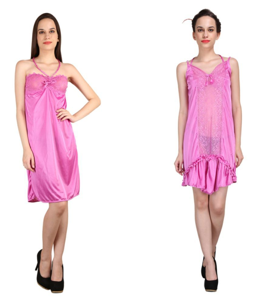 Crazeis Pink Satin Nighty & Night Gowns