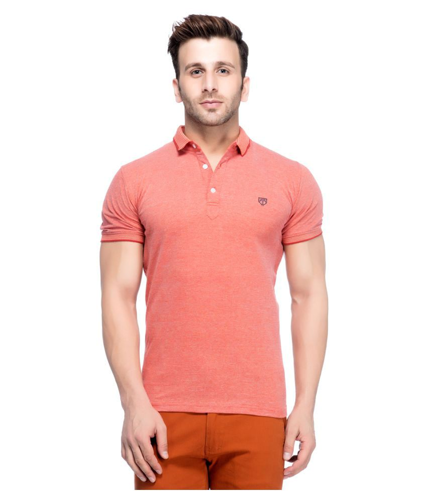 Tinted Red Cotton Blend Polo T-Shirt Single Pack