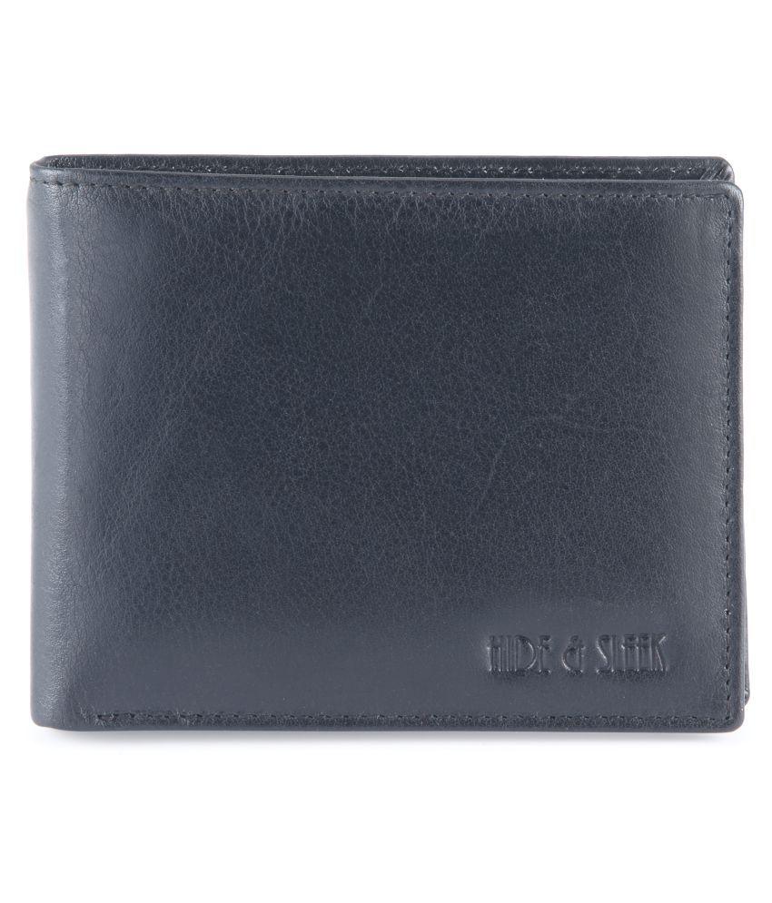 Hide&Sleek Black Leather Casual Regular Wallet