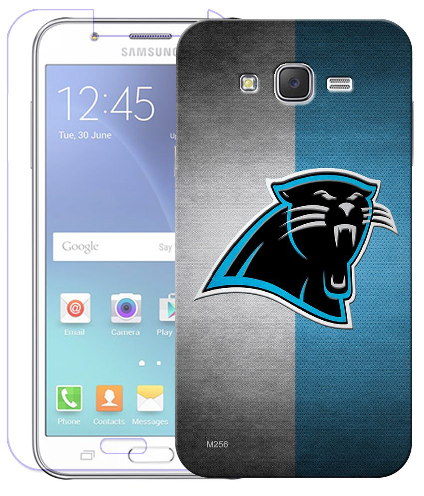 FineArts Combo of Black Panther HD UV Printed Mobile Back Cover and Tempered Glass Screen Guard For Samsung Galaxy Grand 2