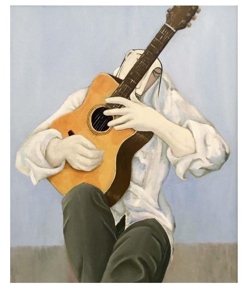 Tallenge Folk Musician Gallery Wrap Canvas Art Prints With Frame Single Piece