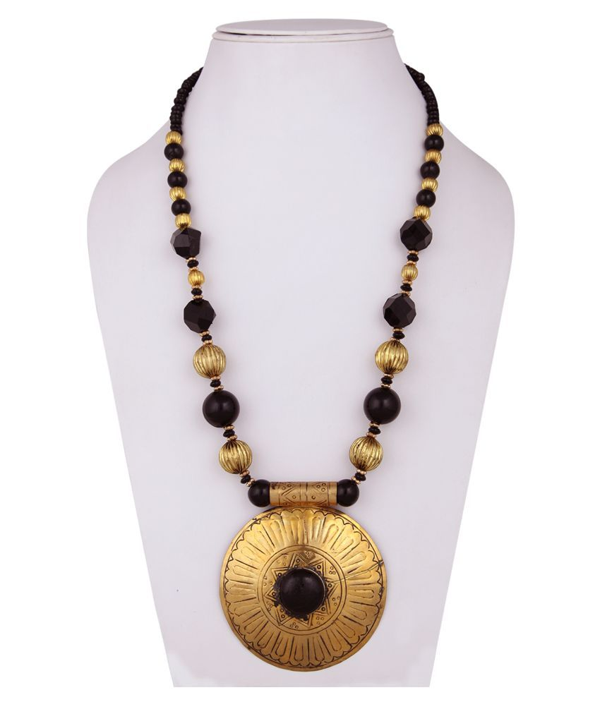 DCA Multicolour Brass And Acrylic Designer Necklace