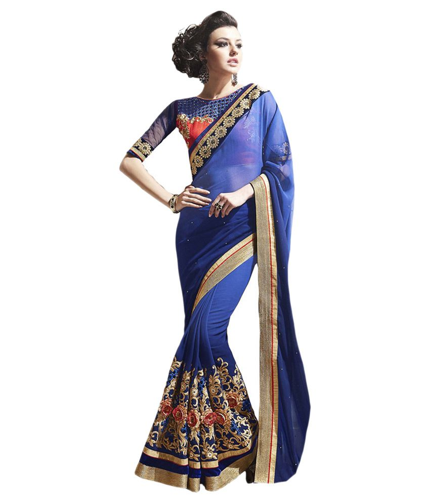 Suchi Fashion Blue Georgette Saree