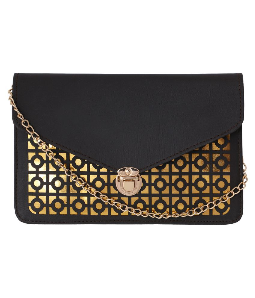 Mipemine Black Faux Leather Sling Bag