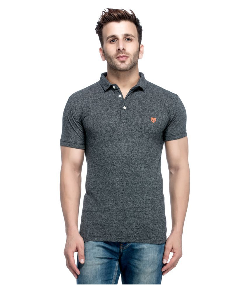 Tinted Black Cotton Blend Polo T-Shirt Single Pack