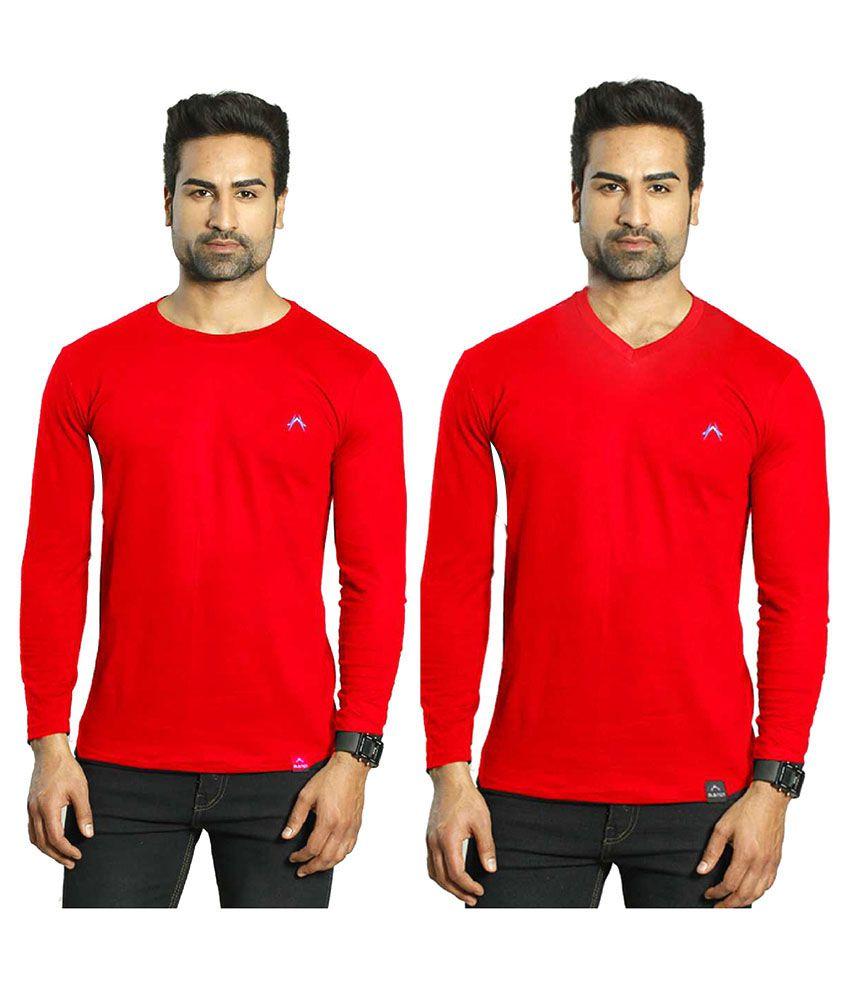 Albiten Red Round T-Shirt Pack of 2