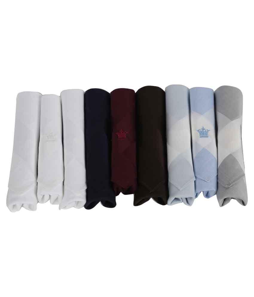 Louis Philippe Multicolour Cotton Handkerchief for Men - Pack of 9