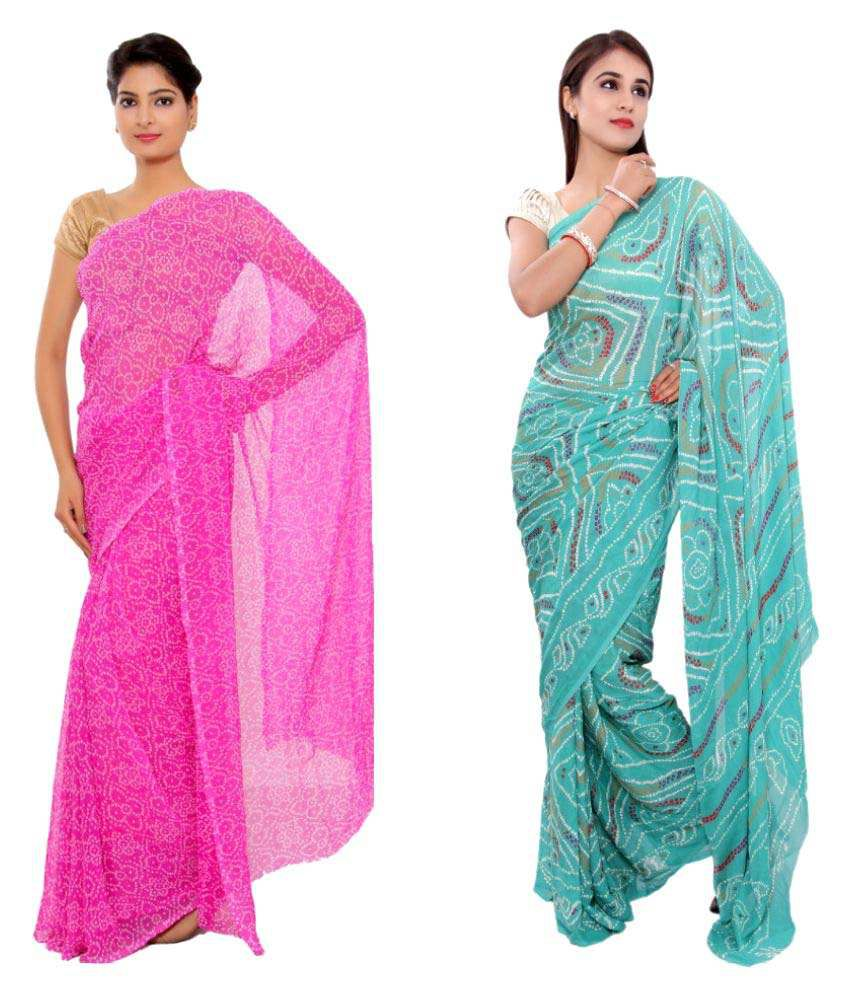 S.R.Agencies Multicoloured Georgette Saree Combos