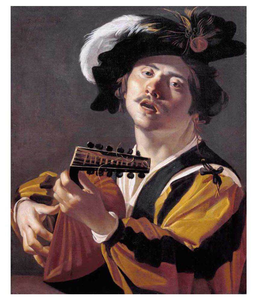 Tallenge The Lute Player Rolled Canvas Art Prints Without Frame Single Piece