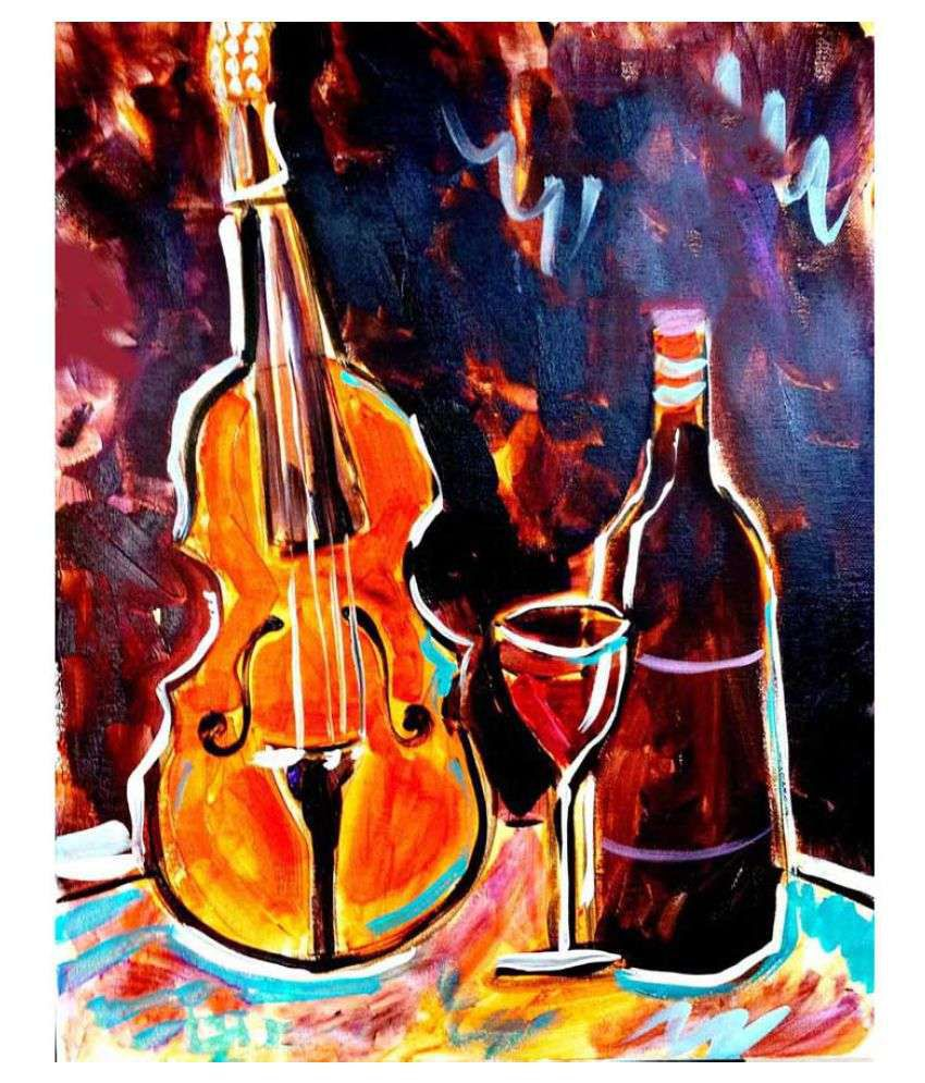 Tallenge Violin And Wine Rolled Canvas Art Prints Without Frame Single Piece
