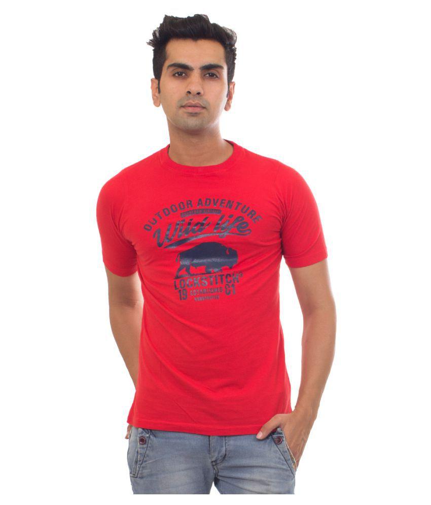 Lockstitch Red Round T-Shirt