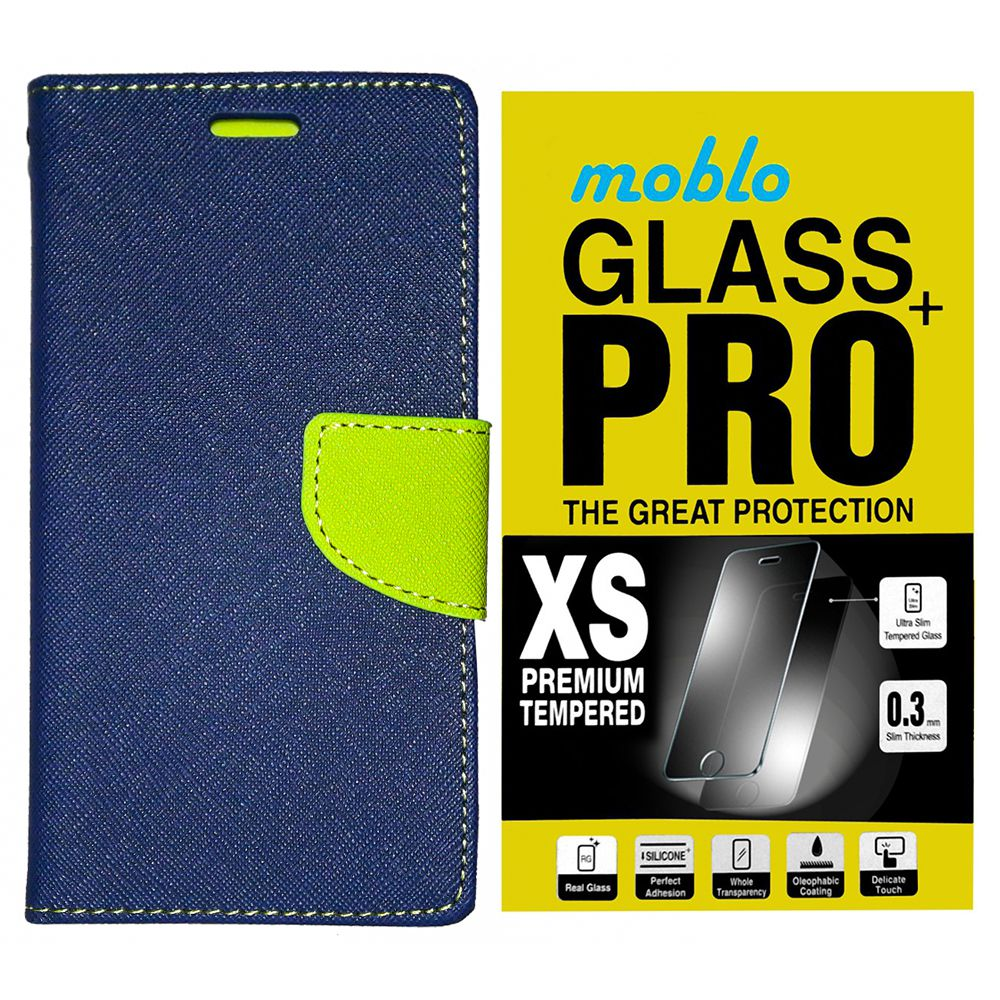 Microsoft Lumia 950 XL Flip Cover with Tempered Glass By Moblo-Blue