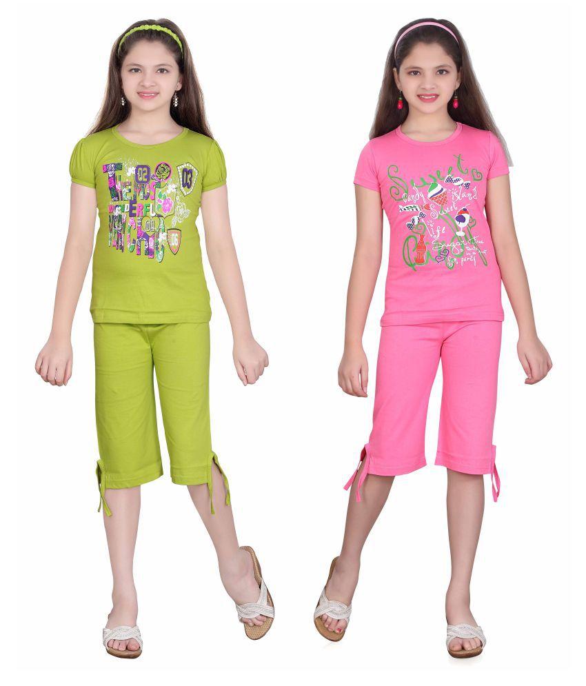 38480121a Sini Mini Multicolor Cotton Top and Capri Set - Pack of 2 - Buy Sini ...