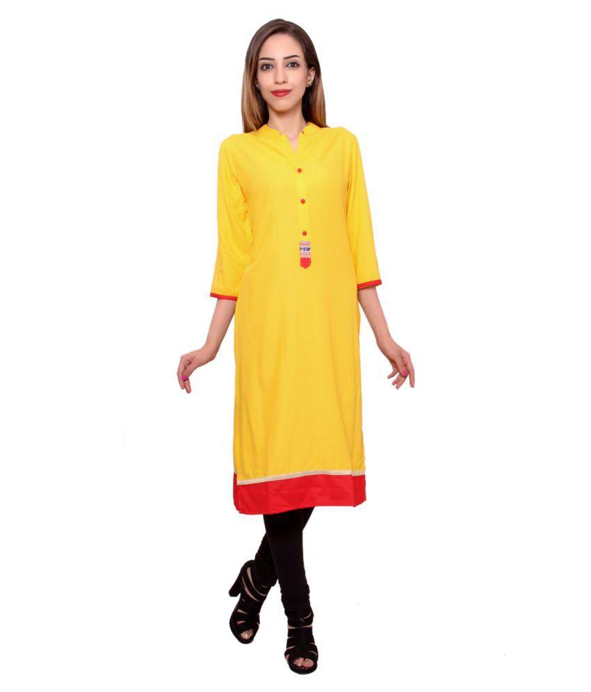 Msons Yellow Rayon Straight Resham Embroidery Kurti