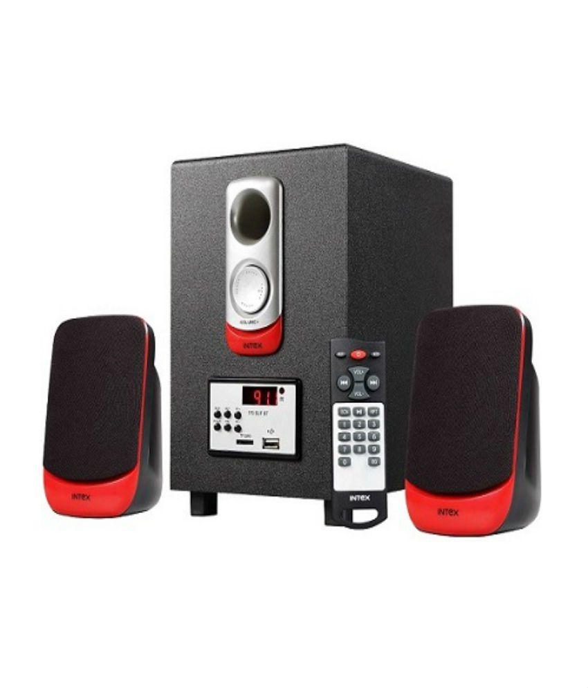 Intex IT-170 SUF Desktop Speaker 2.1 Computer Speakers - Black And Red