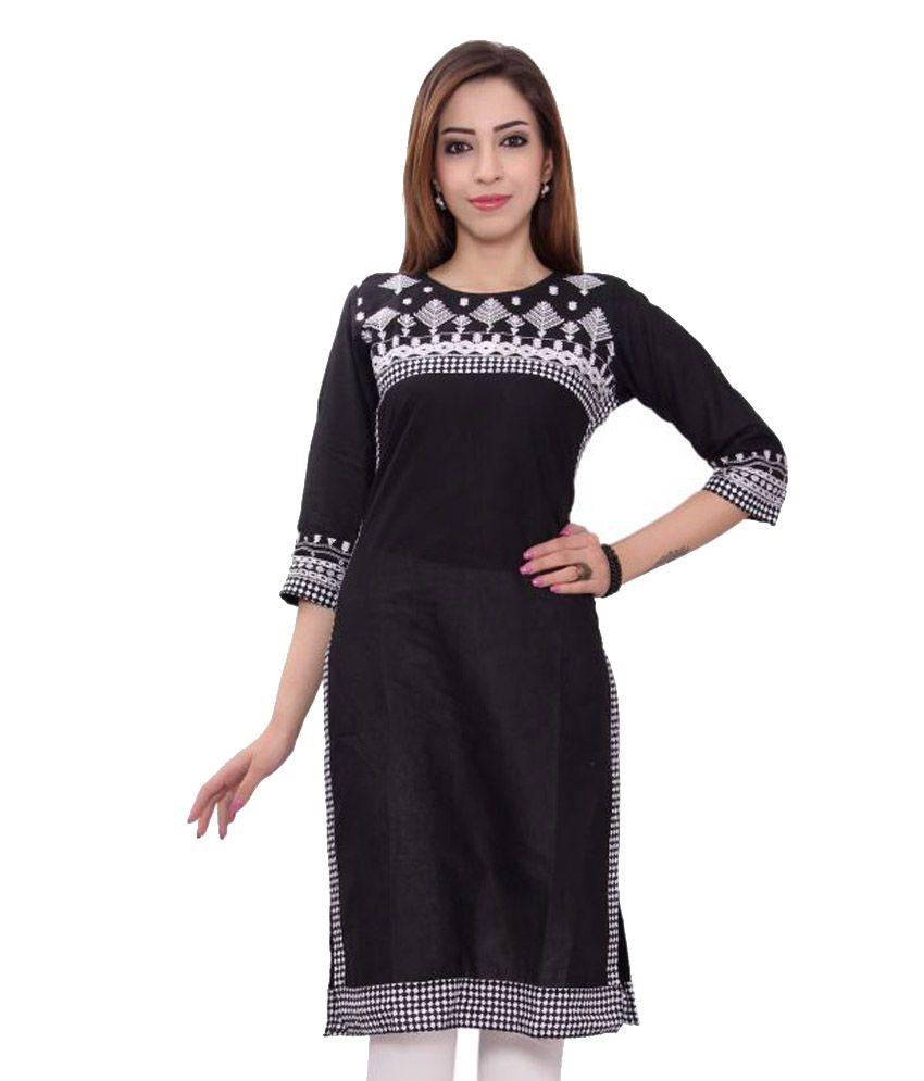 Msons Black Cotton Straight Resham Embroidery Kurti
