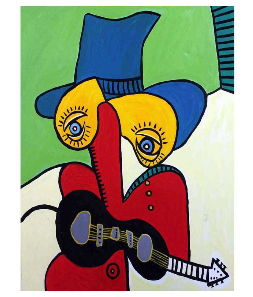 Tallenge Guitarist with Hat Rolled Canvas Art Prints Without Frame Single Piece