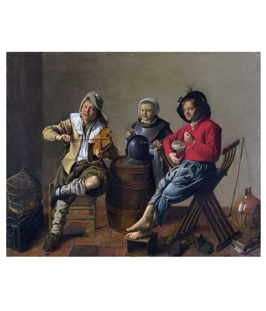 Tallenge Two Boys And A Girl Making Music Rolled Canvas Art Prints Without Frame Single Piece