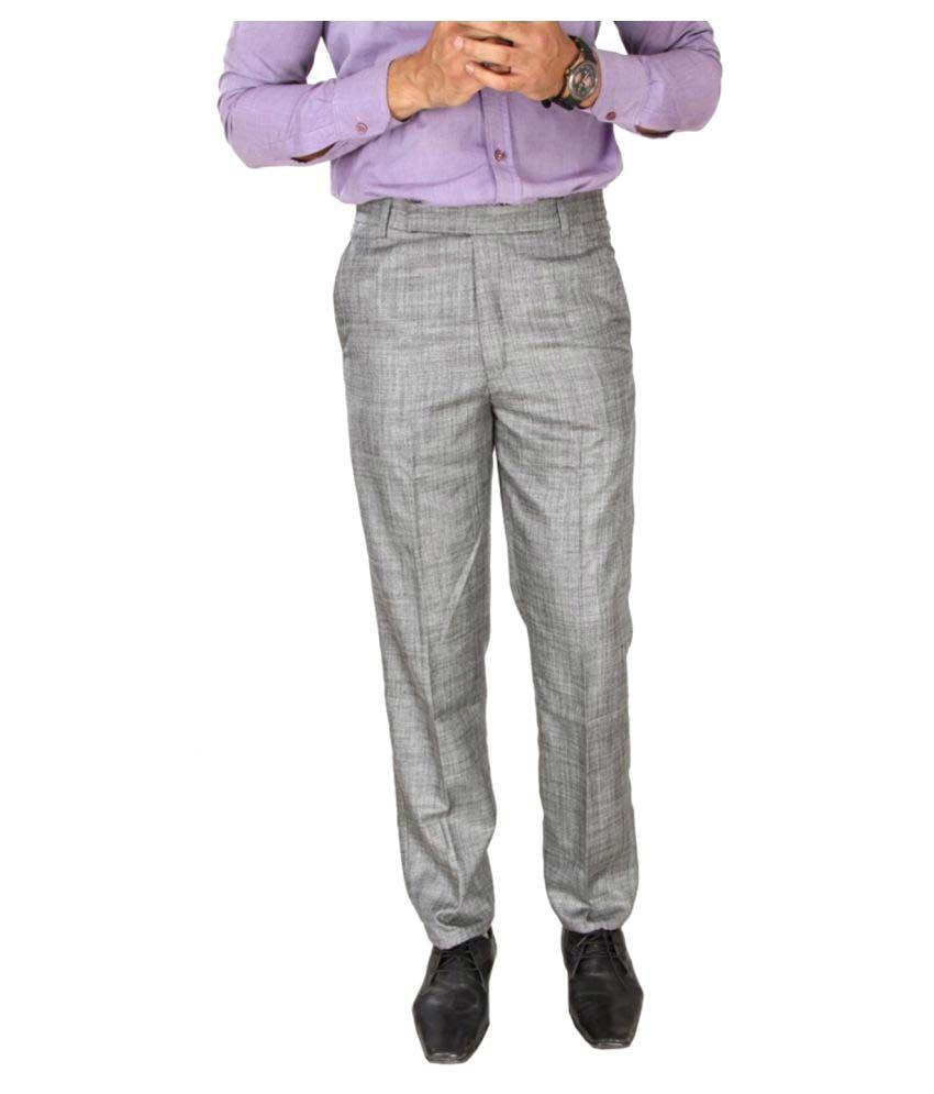 Yash Touch Grey Regular Flat Trouser