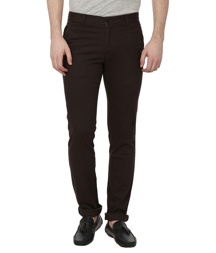 French Republic Brown Slim Flat Trouser