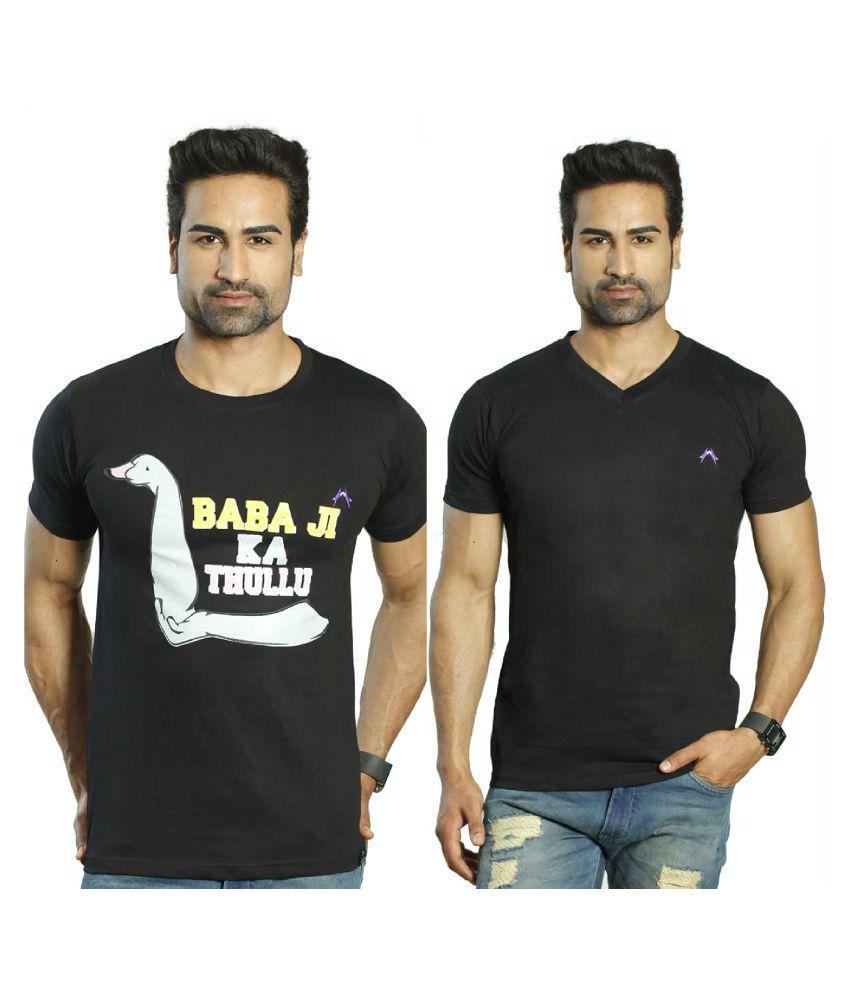 Albiten Black Round T-Shirt Pack of 2