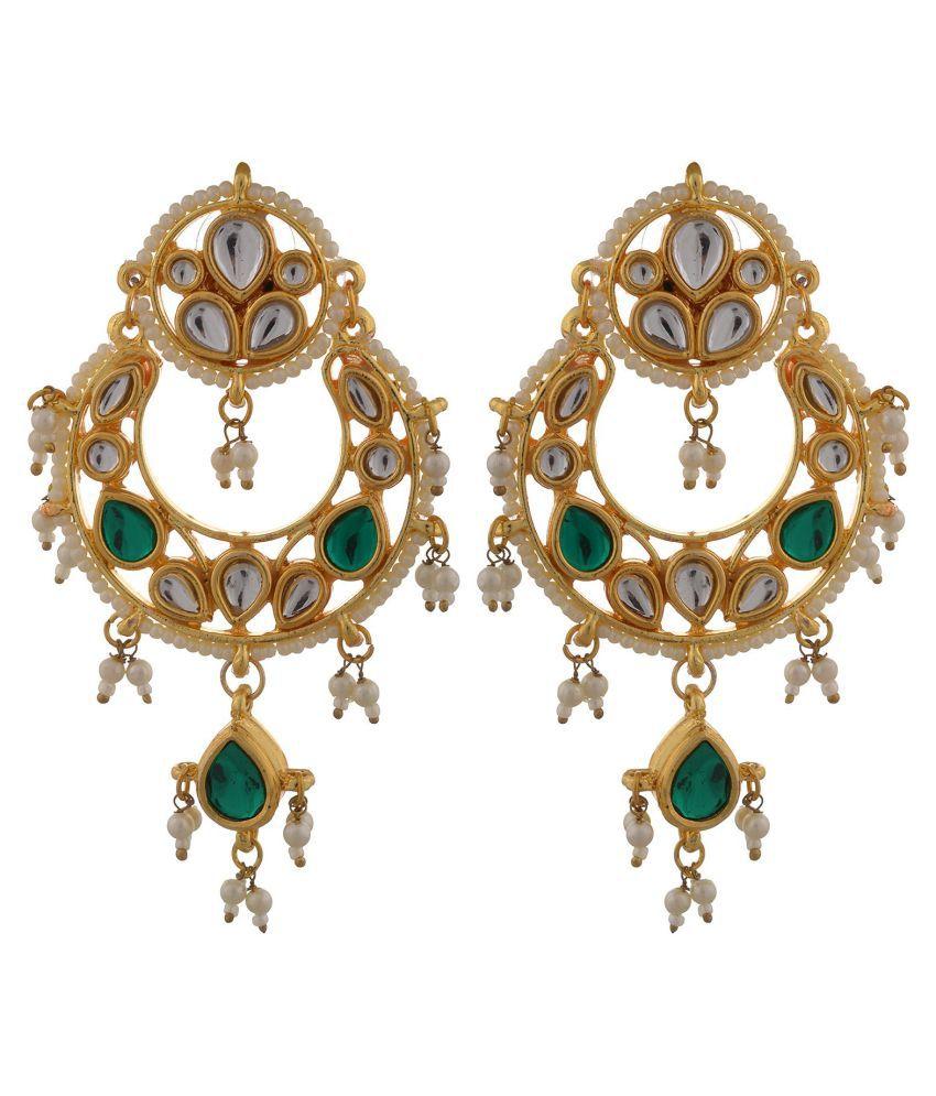 Shop@cosmos semi precious handcrafted kundan and pearl chandbali