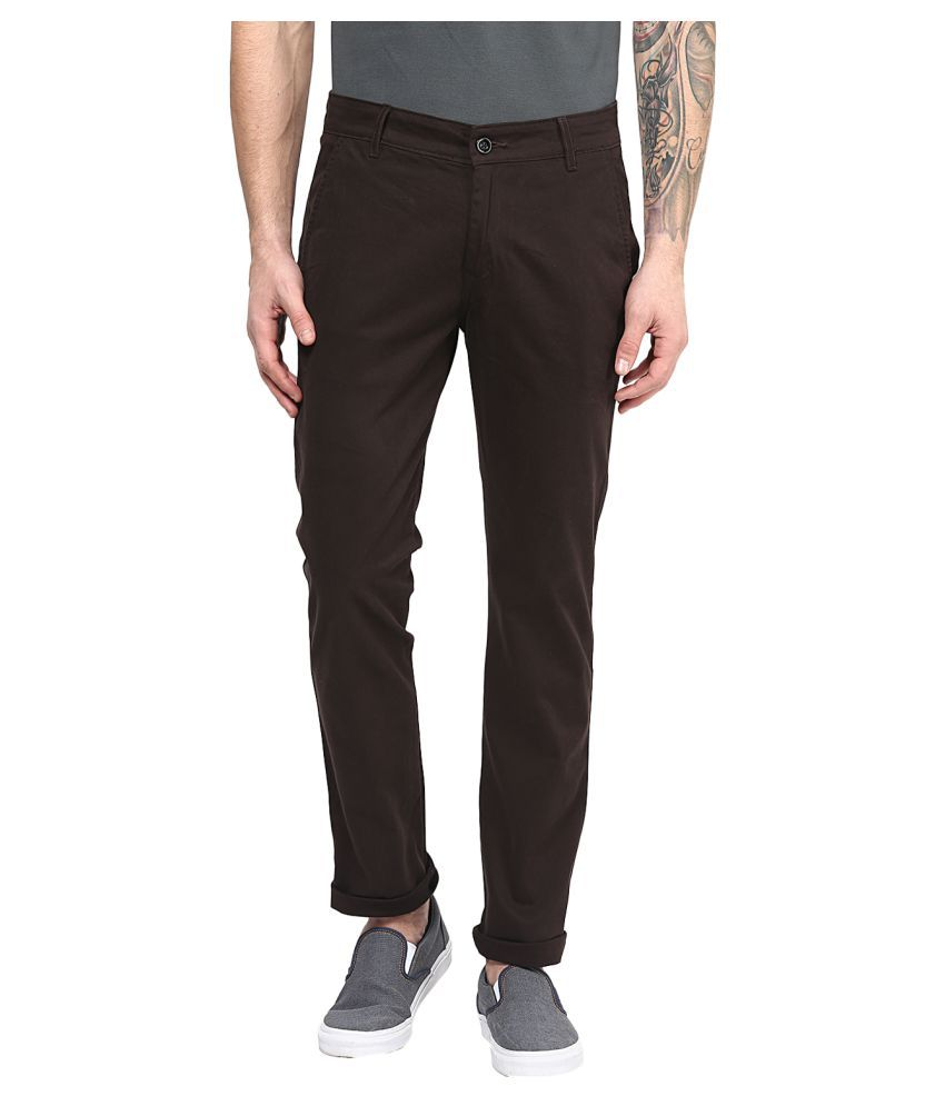 Silver Streak Brown Slim Flat Trouser
