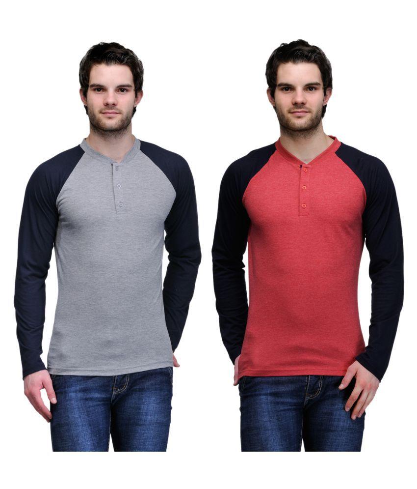 TSX Grey Henley T-Shirt Pack of 2