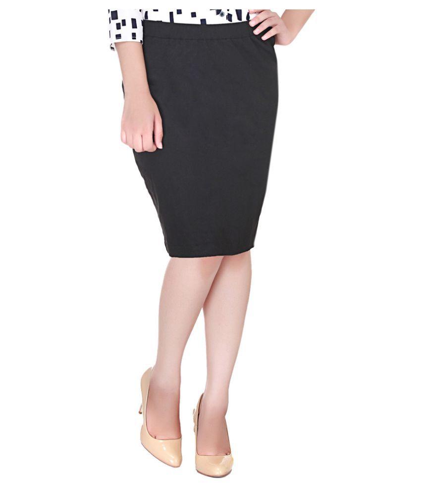 buy adyuth black cotton lycra pencil skirt at best