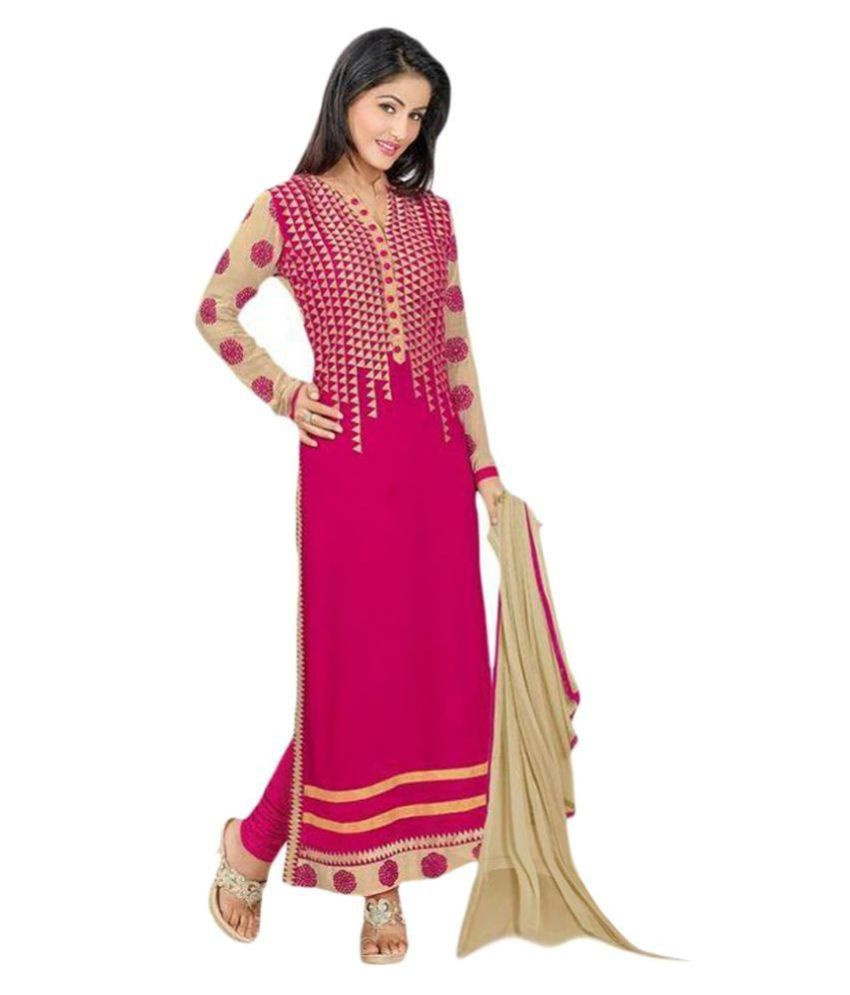 Anarkali Salwar Suits Pink Georgette Dress Material