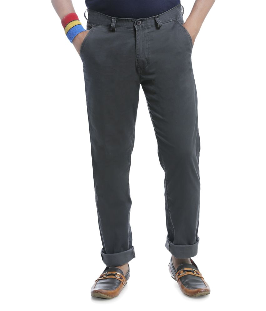 Burbn Grey Regular Flat Trouser