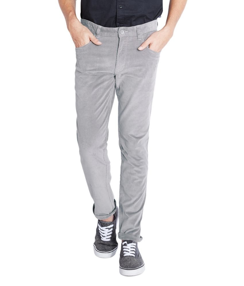 Parx Grey Slim Flat Trouser