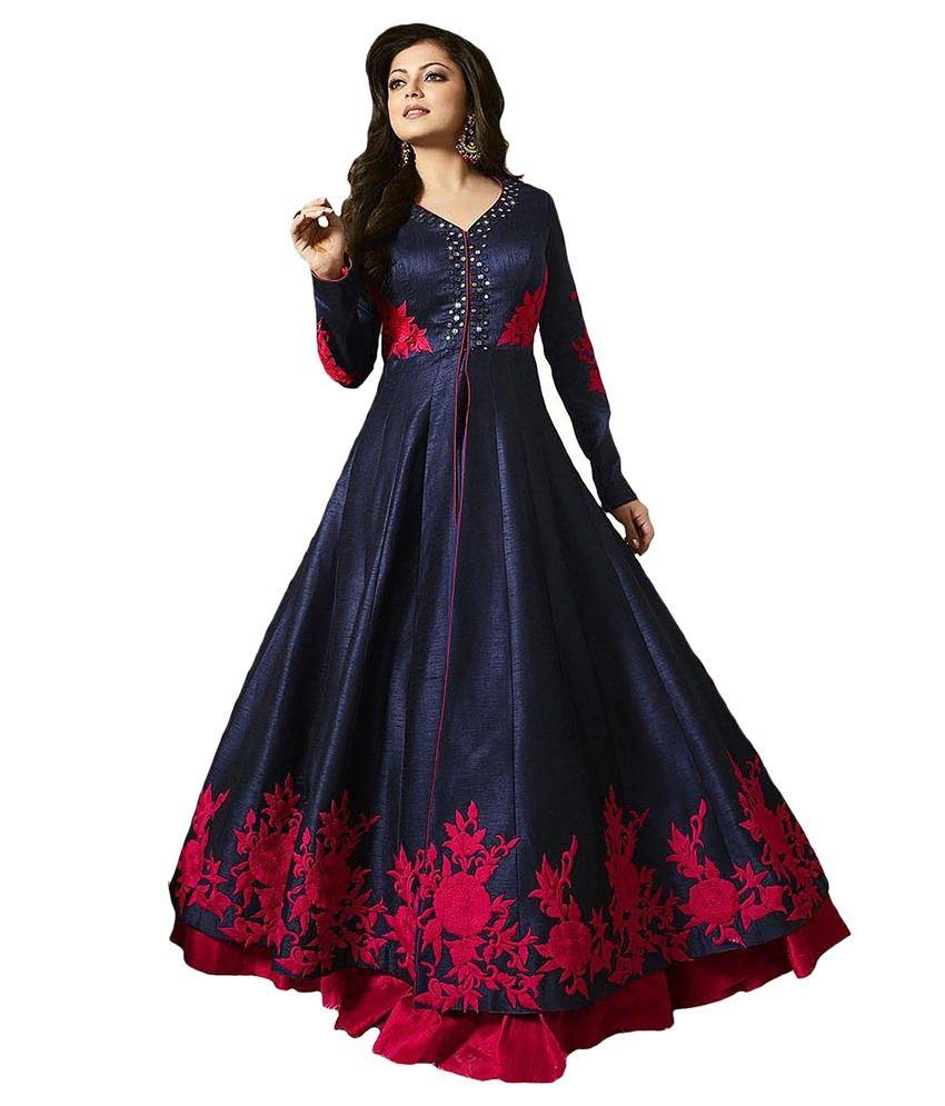 Bmr Blue Bangalore Silk Anarkali Gown Quot Semi Stitched Suit