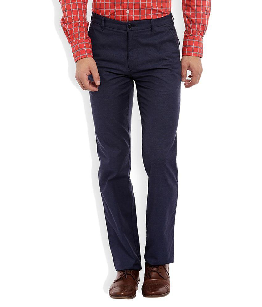 Colorplus Navy Blue Slim Flat Trouser