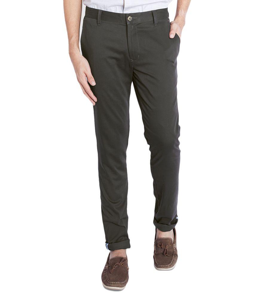 Parx Grey Slim Flat Trouser
