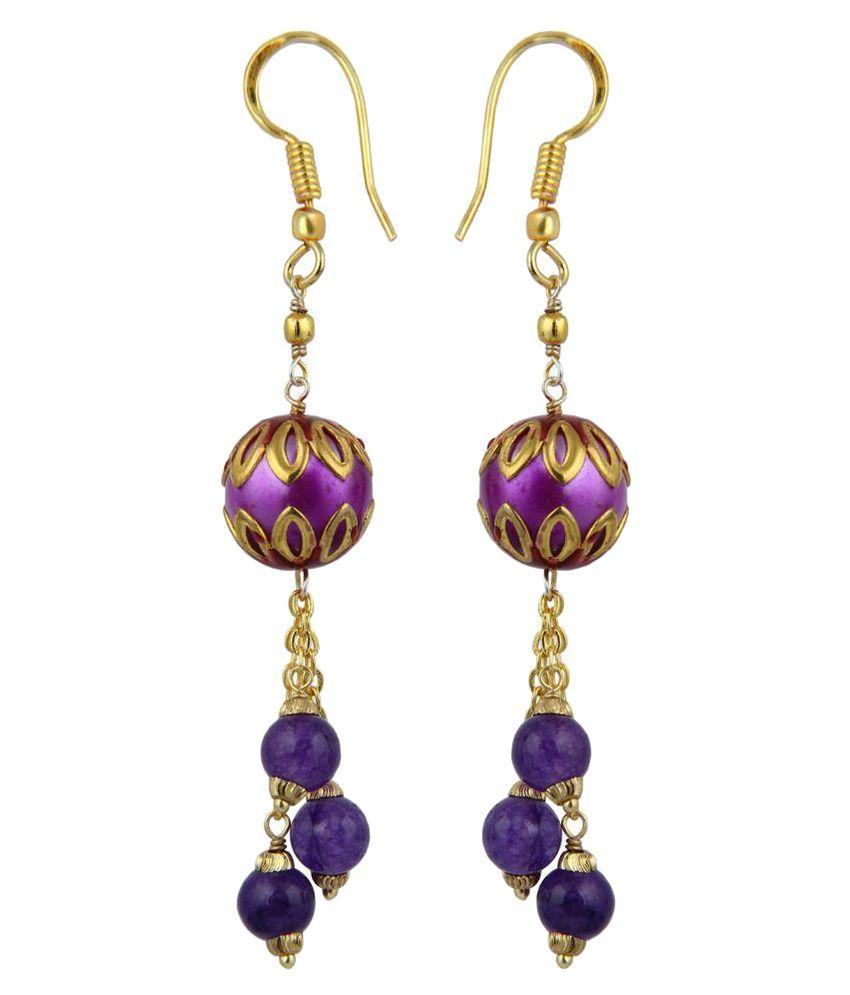 Pearlz Ocean Passionate Indigo Jade Beads Earrings for Women