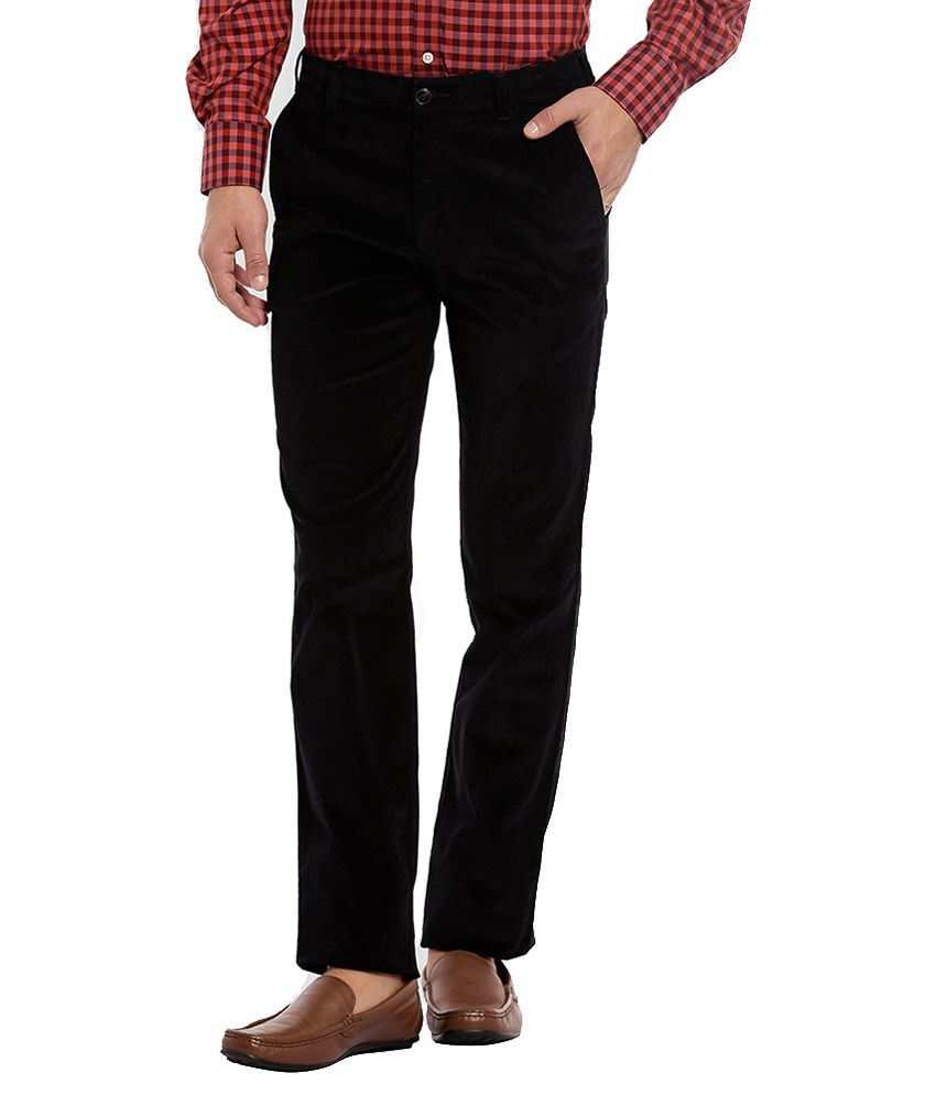 ColorPlus Black Slim Flat Trouser
