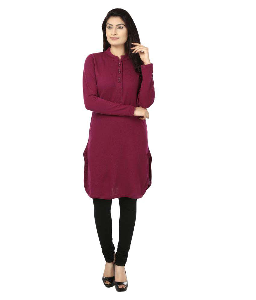 Desi Chhokri Maroon Woollen Straight Textured Kurti