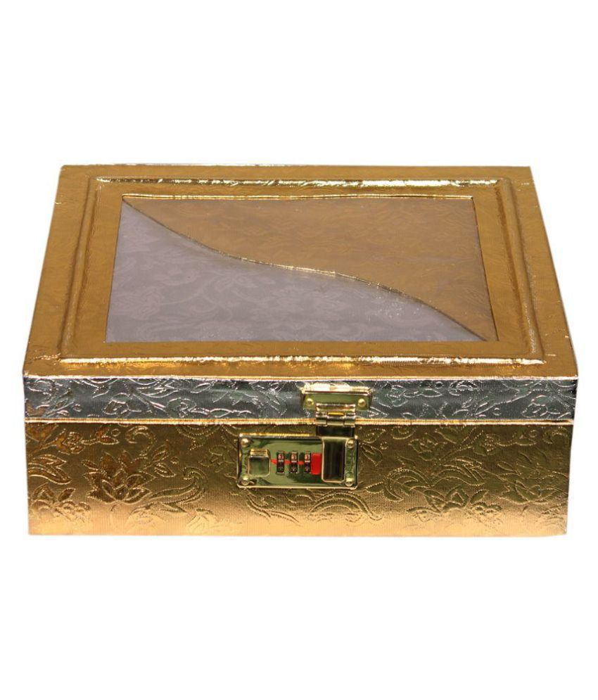 Leather World Classic Golden Jewellery Box