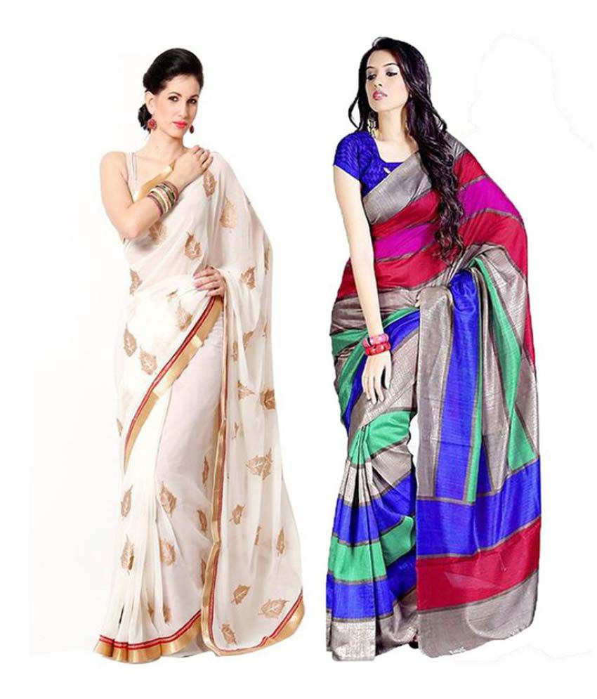 Muta Multicoloured Art Silk Saree Combos